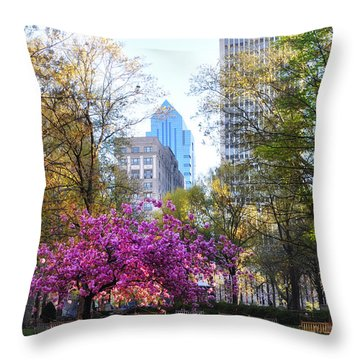 Rittenhouse Square In Springtime Throw Pillow by Bill Cannon