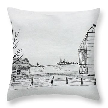 Throw Pillow featuring the drawing Ritzke Homestead by Jack G  Brauer
