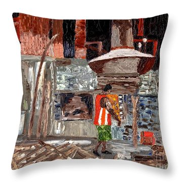 Throw Pillow featuring the painting River Antoine Rum Distillery by Laura Forde