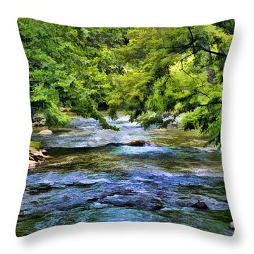 Throw Pillow featuring the photograph River At Dillsboro by Kenny Francis