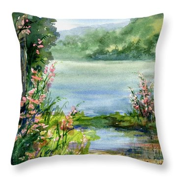 River Bank Flowers Throw Pillow