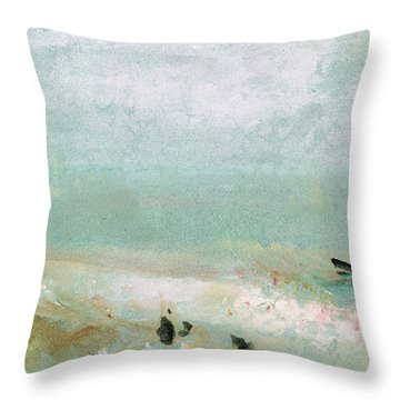 River Bank Throw Pillow by Joseph Mallord William Turner