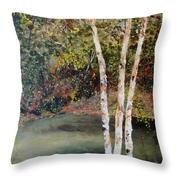 Throw Pillow featuring the painting River Birch by Alan Lakin