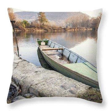 River Boat Throw Pillow by Alfio Finocchiaro