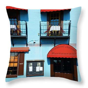 River Boat Landing Throw Pillow by Bob Sample