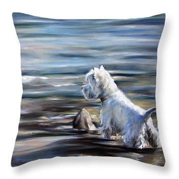 River Boy Throw Pillow by Mary Sparrow