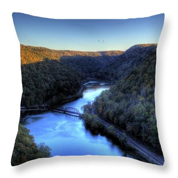 Throw Pillow featuring the photograph River Cut Through The Valley by Jonny D