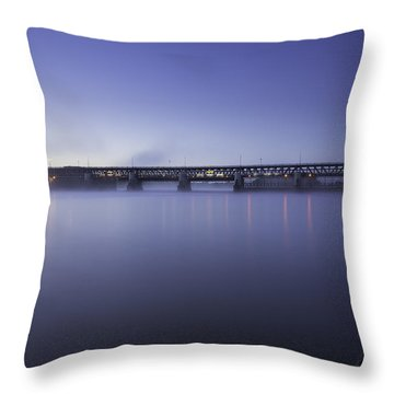 River Dam At Dawn Throw Pillow