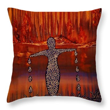 River Dance Throw Pillow by Barbara St Jean