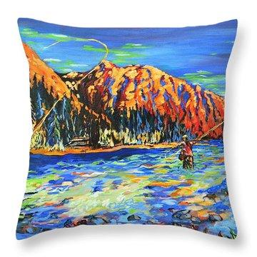 River Fisherman Throw Pillow