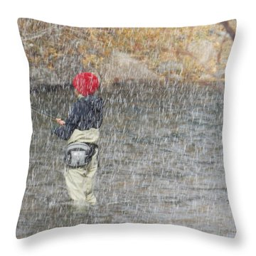 River Fishing In The Snow Throw Pillow by Brent Dolliver
