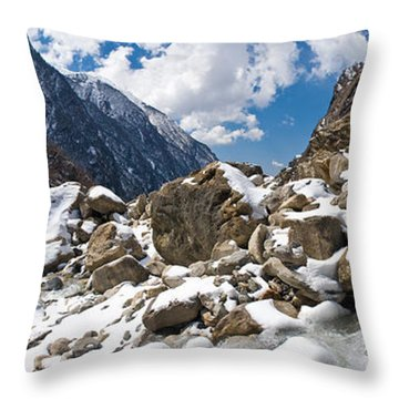 River Flowing Through Rocks, Modi Khola Throw Pillow by Panoramic Images