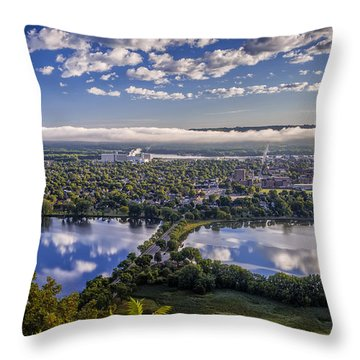 River Fog At Winona Throw Pillow