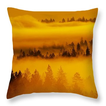 Throw Pillow featuring the photograph River Fog Rising by Ben Upham III