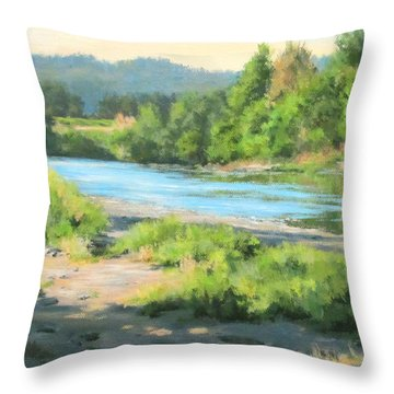River Forks Morning Throw Pillow by Karen Ilari