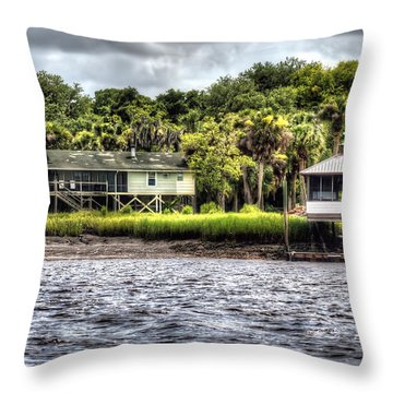 River House On Wimbee Creek Throw Pillow