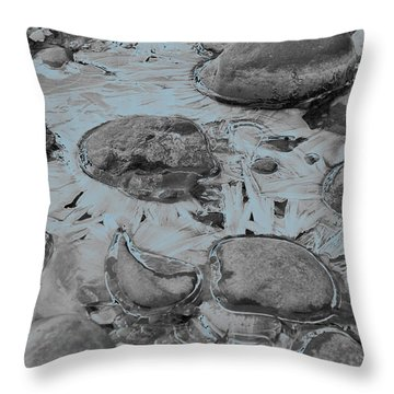River Ice Blue Throw Pillow