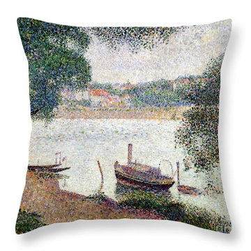 River Landscape With A Boat Throw Pillow by Georges Pierre Seurat