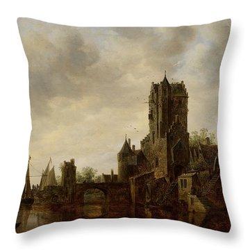 River Landscape With The Pellecussen Gate Near Utrecht Throw Pillow by Jan Josephsz van Goyen