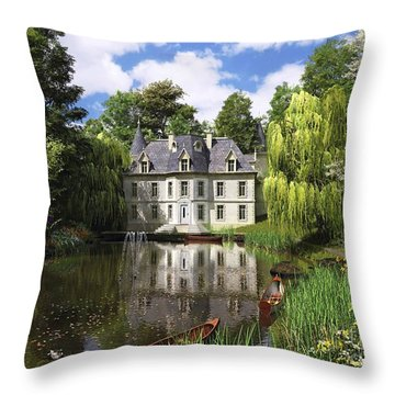 River Mansion Throw Pillow