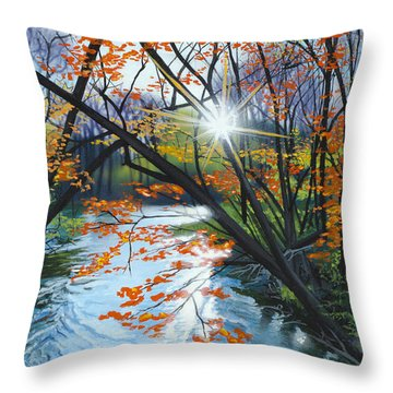 River Of Joy Throw Pillow by Lynn Hansen