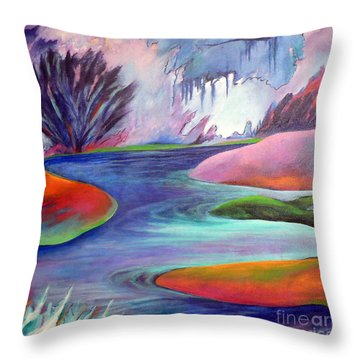 Blue Bayou Throw Pillow by Elizabeth Fontaine-Barr