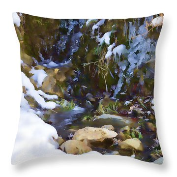 River Painting Throw Pillow by Donna Greene
