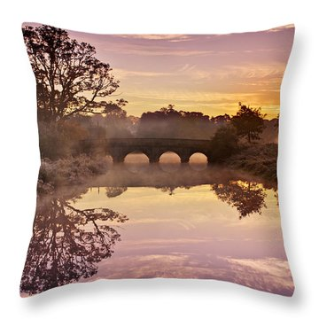 River Reflections At Sunrise / Maynooth Throw Pillow