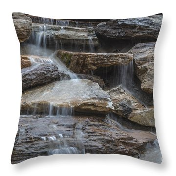 River Rock Waterfall Throw Pillow