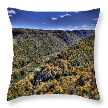 River Running Through A Valley Throw Pillow