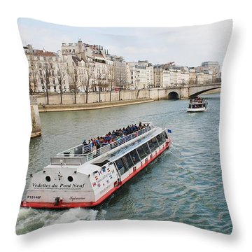 River Seine Excursion Boats Throw Pillow
