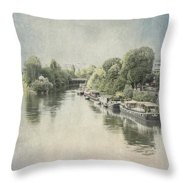 River Seine In Paris Throw Pillow