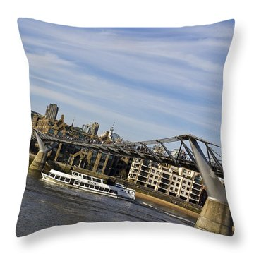 River Thames Uphill Throw Pillow