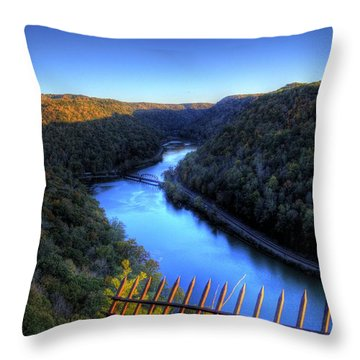 Throw Pillow featuring the photograph River Through A Valley by Jonny D