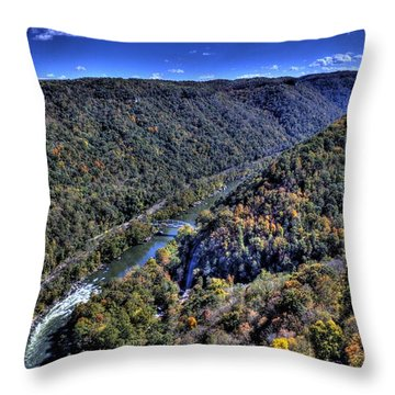 Throw Pillow featuring the photograph River Through The Hills by Jonny D