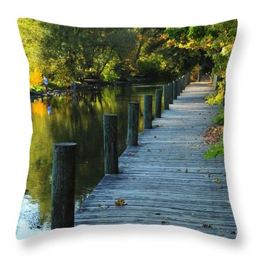 River Walk In Traverse City Michigan Throw Pillow by Terri Gostola