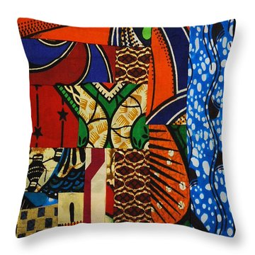 Throw Pillow featuring the tapestry - textile Riverbank by Apanaki Temitayo M