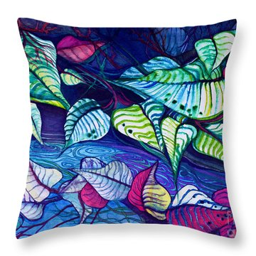 Riverbank Foliage Throw Pillow
