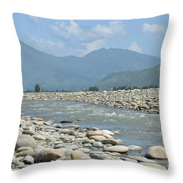 Throw Pillow featuring the photograph Riverbank Water Rocks Mountains And A Horseman Swat Valley Pakistan by Imran Ahmed