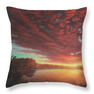 Riverbend Sunset Sky River Landscape Oil Painting American Yellow Pink Orange Throw Pillow by Walt Curlee