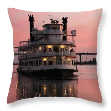 Riverboat At Sunset Throw Pillow by Cynthia Guinn