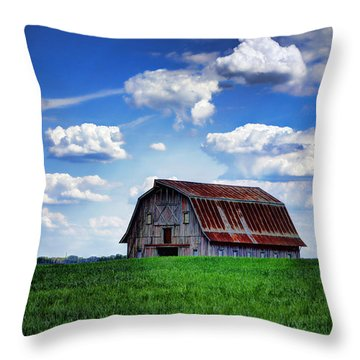 Riverbottom Barn Against The Sky Throw Pillow