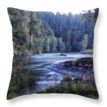 Riverflow At Dusk Throw Pillow by Belinda Greb