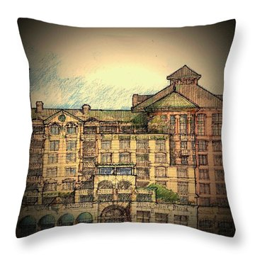 Throw Pillow featuring the drawing Riverfront  by Andrew Drozdowicz