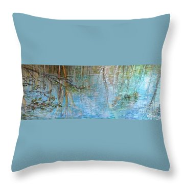 Throw Pillow featuring the painting River's Stories  by Delona Seserman