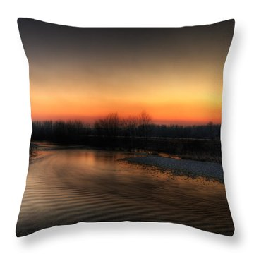 Riverscape At Sunset Throw Pillow