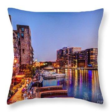 Riverwalk At Dusk Throw Pillow