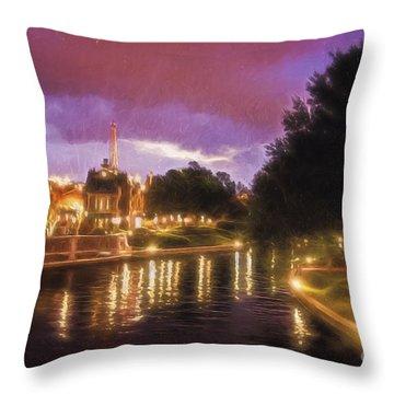 Riverwalk At Night  ... Throw Pillow