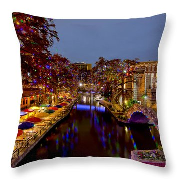 Riverwalk Christmas Throw Pillow
