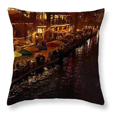 Riverwalk Night Throw Pillow
